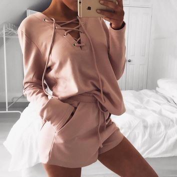 Sought-After 2Pcs Women Ladies Clothes Set Tracksuit Hoodies Tops Long Sleeve Shorts Sets V Neck Casual Clothing Women