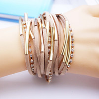 2016 New famous Charm Bracelets Summer Style Setting Crystal Disc Leather Bracelets For Women Gift Jewelry