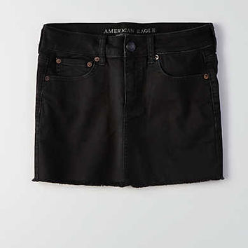 AEO Black Denim Skirt , Black