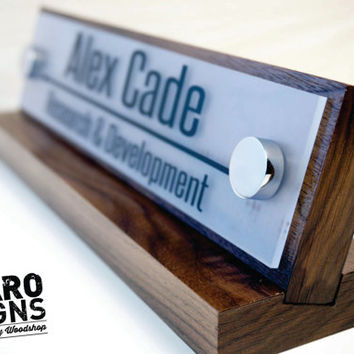 Desk Name Plate and Accessory Personalized Wood Desk Plaque and Acrylic makes a fantastic Business Gift 10x2.5