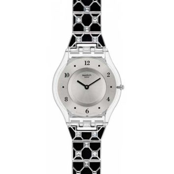 Swatch SFK367G Women's Silver Dial Elegantly Framed Black Watch
