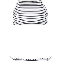 Striped High Neck Bikini Set - Topshop