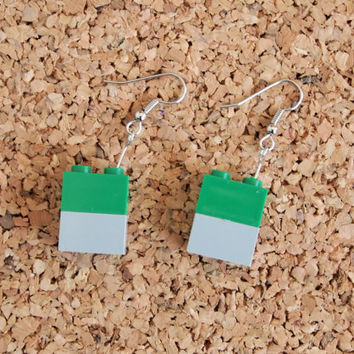 Lego Block Earrings - kids toy repurpose recycled jewelry geekery dangle fish hook green grey FREE shipping to USA