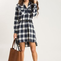 Taylor Navy Plaid Flannel Dress