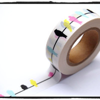 Washi Tape Full Roll Colorful Birds 15mm WT248 2rolls