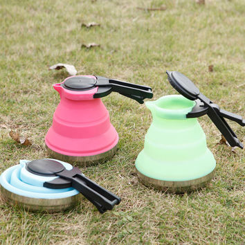Food Grade Silicone Folded Portable Water Kettles for Tea Camping Picnic Travel Outdoor Kettle Coffee Pots 3Colors CT026