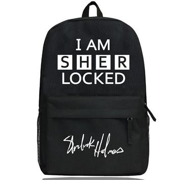 I am Sherlock Bag Name Print Boys Girls School Book Bag Sherlock Backpack Cosplay Sherlock Backpack Gift