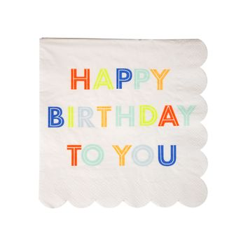 Happy Birthday Neon Small Napkins