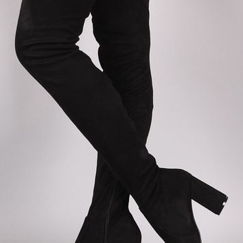 Anesha Thigh High Suede Boot - Black