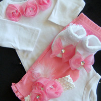 NEWBORN baby girl take home outfit  pink rosette Onesuit matching pants matching pink headband and socks with bows
