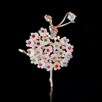 Retail!!Exquisite Multicolor Crystals Pretty Flower Skirt Ballet Dancer Ballerinas Brooch Women Girls Gift Pins Broach