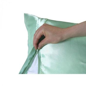 Luxury Satin Pillowcase with Zipper, Standard Size (Silky Pillow Case for Hair)