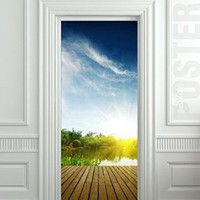 "Wall Door STICKER platform on the lake poster, mural, decole, film 30x79"" (77x200 Cm)"