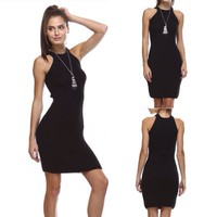 Black Fitted Knit Dress from Follow The Sun