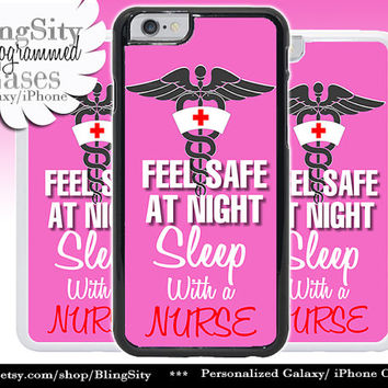 Nursing Nurse Iphone 6 Plus Case Hot Pink Feel Safe Sleep With Nurse Funny Quote Iphone 4 4s 5 5C Ipod Touch Cover LPN RN Medical