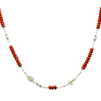 Sterling Silver Rosary Necklace, Coral 6mm with Crucifix & Miraculous Medal