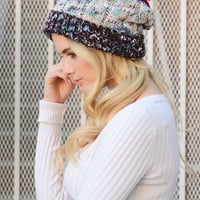 Speckled Multicolor Pom Beanie - Fuchsia
