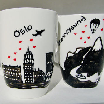 Custom Long Distance Relationship, Skyline Personalized Gift State to State Mugs Set of 2, Couples Love Mug
