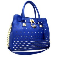 Classy! Chain Shoulder Strap Studded Handbag Purse (Blue)