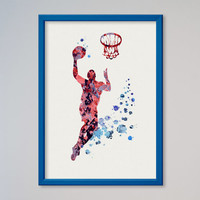 Basketball Player Poster Watercolor Print Sport Baseball Michael Jordan illustration Art Kid's Room decor Giclee Wall Decor Wall Hanging