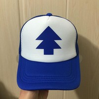 BLUE PINE TREE Print Trucker Cap Cartoon Fans Dipper Men Women Children Gravity Falls Flat Bill Snapback Hats Free Shipping