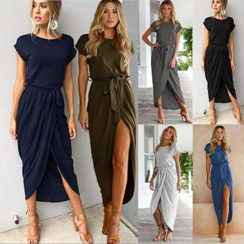 Summer Spring Women Casual Loose Dress Short Sleeve Lace Up Irregular Dress Party Sexy Dress Women Clothing designer clothes