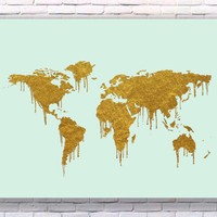 World Map Gold Art Print Instant Download Printable Mint Edition