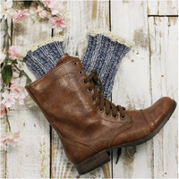 MISS TORI lace boot socks - denim