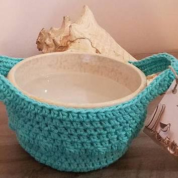 Crochet Microwave Bowl Potholder / Handled Carrier Bowl Cozy Handmade Teal Green