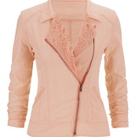 Asymmetrical Linen Moto Jacket With Lace - Mango