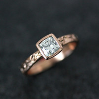 Ready To Ship Size 6, Moissanite and 14k Rose gold Champagne Engagement Ring