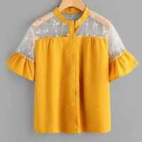 Embroidery Mesh Shirt Floral Cute Frill Cuff Blouse Yellow Women Semi Sheer Tops Patchwork Button Up Blouse