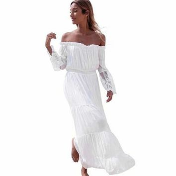 SHIPS FROM USA Off Shoulder Loose and Long Maxi Dress SHIPS FROM USA