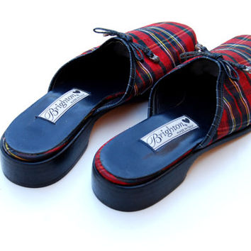 vintage PLAID mules /   1990s Brighton  clogs by vintagemarmalade