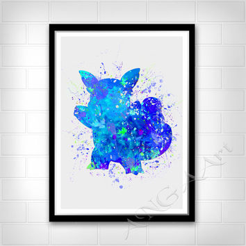 Pokemon Go, Wartortle, Watercolor art,  Instant download, Digital Print, Room decor, Wall print, RPG game character, Monster Water, Pokemon