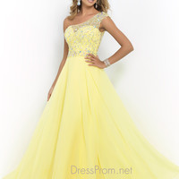Flowing Blush One Shoulder Prom Gown 9946