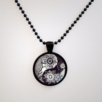 Yin Yang Zen Pendant - Yin Yang  Necklace - Yin Yang Zentangle Glass Tile Pendant - Doodles Yoga Black