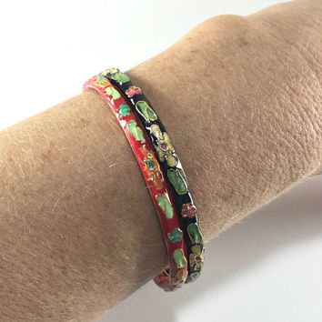 Cloisonne Bangle Bracelets, Boho Chic, Hippie Red Black, Floral Flower Design, Slim Bracelets, Teacher Gift, Gardener Gift, Dainty Jewelry