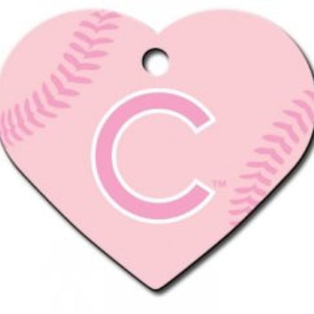 Officially Licensed MLB Chicago Cubs Pink Heart Pet ID Tag