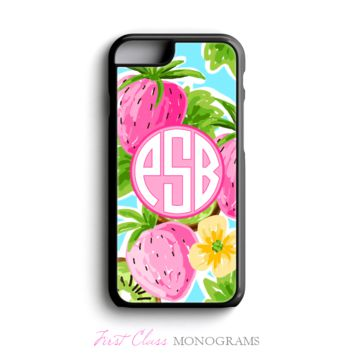 Tracey Gurley Strawberries Monogram Phone Case