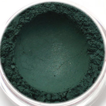 "Eyeshadow Sample - ""Puck"" - satiny hunter green/dark green (Vegan) Mineral Makeup Eye Color Pigment"