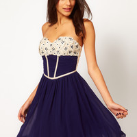 Little Mistress Applique Corset Bandeau Prom Dress