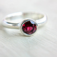 Rhodolite Garnet Ring Pink Engagement Ring Solitaire Ring Recycled Sterling Silver Size 6 Promise Ring Birthstone Jewelry