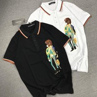 """""""Dolce & Gabbana"""" Unisex Lion Military Officer Embroidery Lapel T-shirt Couple Short Sleeve Casual Polo Shirt Top Tee"""