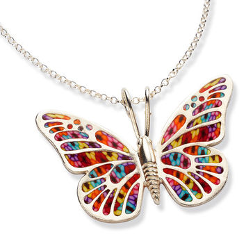 Handmade Millefiori Jewelry - Colorful Butterfly Necklace - Polymer Clay Charm - FREE SHIPPING