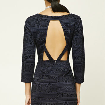 Geo-Patterned Bodycon Dress