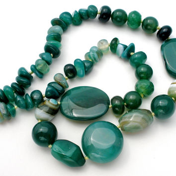 """Green Banded Agate Bead Necklace 23"""""""
