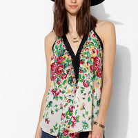 Pins And Needles Falling Roses Silk Tank Top - Urban Outfitters