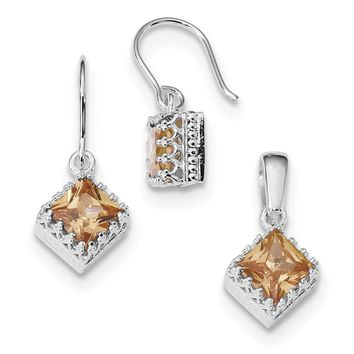 Sterling Silver Crown Set Champagne Square CZ Earrings And Pendant Set