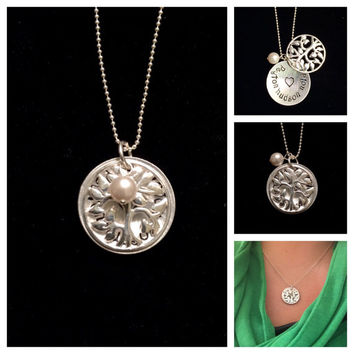 Family Tree Locket- Gorgeous sterling silver Tree of Life charm and handstamped disc of your loved ones' names!